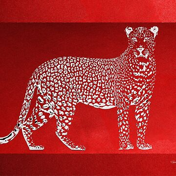 Silver Leopard on Red Canvas by Captain7