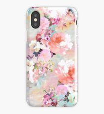 Romantic Pink Teal Watercolor Chic Floral Pattern iPhone Case