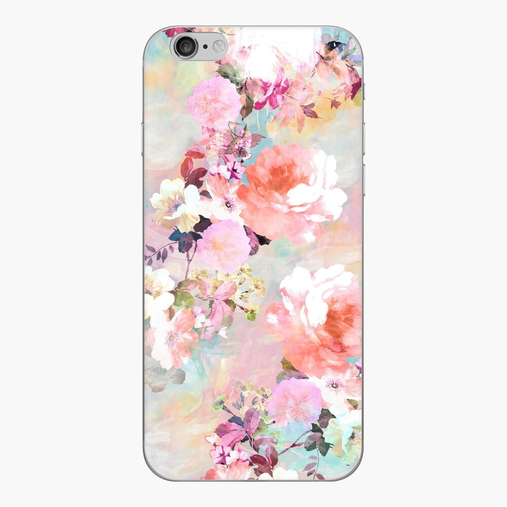 Romantic Pink Teal Watercolor Chic estampado de flores Vinilo para iPhone