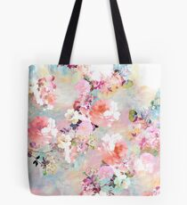 Bolsa de tela Romantic Pink Teal Watercolor Chic estampado de flores