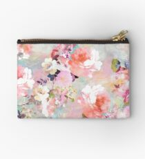 Romantic Pink Teal Watercolor Chic Floral Pattern Studio Pouch