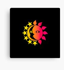Sun And Moon Day And Night Canvas Print