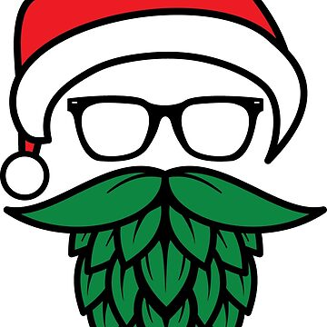 Hipster Santa with Hops Beard for Beer Lovers by NestToNest