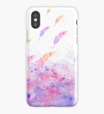 Abstract Watercolor Feathers Pink Blue Splatters  iPhone Case/Skin