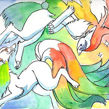 happy pride! zoroark & ninetales by grunesgryphon