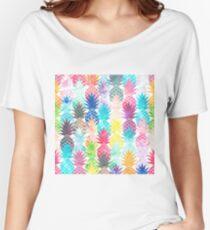 Hawaiian Pineapple Pattern Tropical Watercolor Women's Relaxed Fit T-Shirt