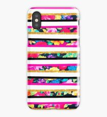 Neon floral pattern pink gold glitter stripes iPhone Case/Skin