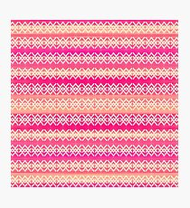 Coral and Pink Modern Geometric Tribal Pattern Photographic Print