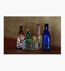 Collection of Vintage Bottles Photograph Photographic Print