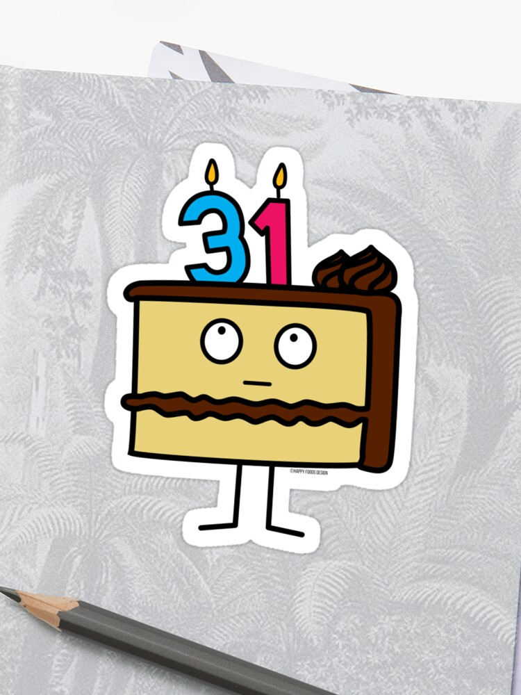 31st Birthday Cake With Candles Chocolate Icing Vanilla Sticker