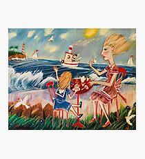 """Jessica and me take our tea beside the sea"" Photographic Print"