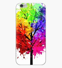 Rainbow Tree With Colour Splats iPhone Case