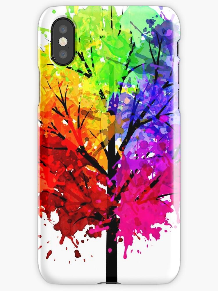 Rainbow Tree With Colour Splats by ArniesArt