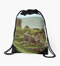 Urquhart Castle C13-17 keep, with Loch Ness in Background to north, Scotland 19840910 0010 Drawstring Bag