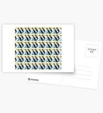 Painterly penguin repeat pattern  Postcards