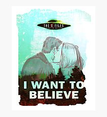 The X Files Mulder and Scully I want to believe poster Photographic Print