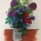 Sea Holly and Alliums by Susan Scott
