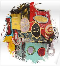 Colorful smiley heads. Abstract art Poster