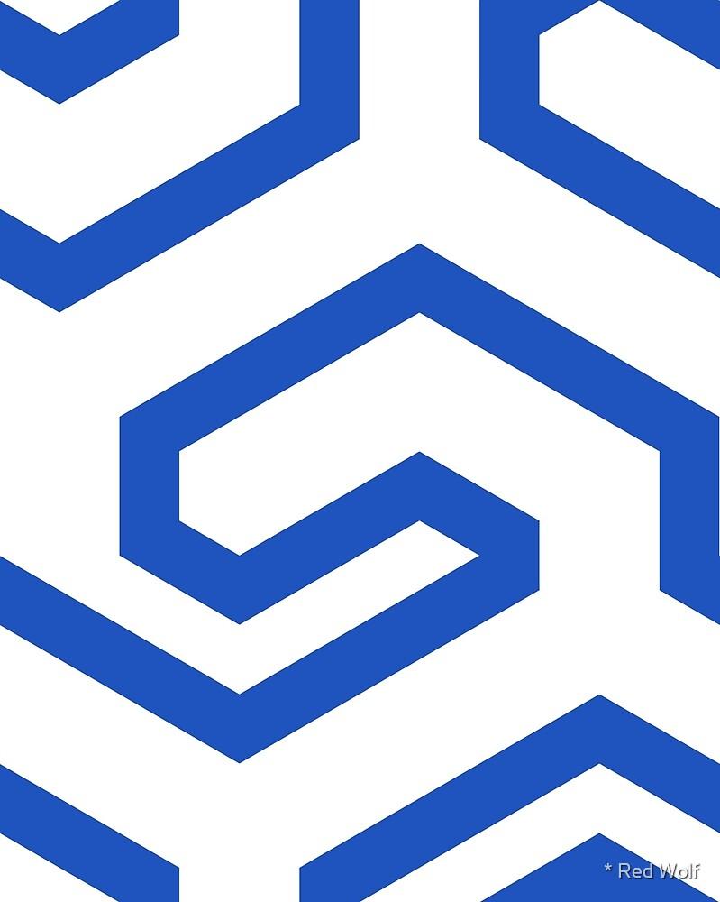 Geometric Pattern: Key Hook: Blue by * Red Wolf