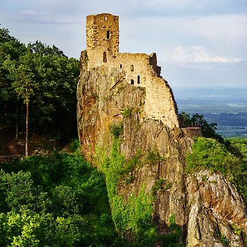 Ruins of medieval castle Girsberg on the top of stone rock, Alsace, France by sorokopud