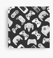 Video game controller background Gadgets and Devices seamless Gamepad pattern Canvas Print