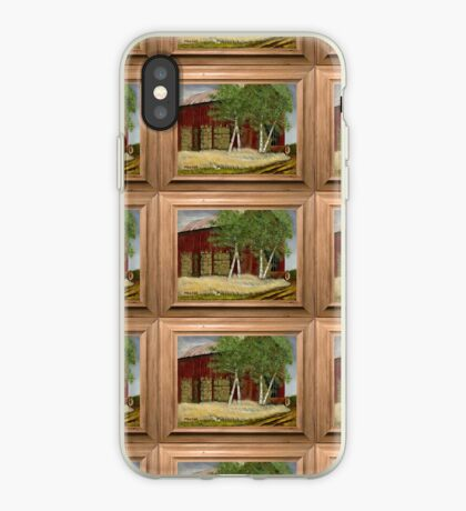 OLD MAN WALKER'S BARN, ACRYLIC PAINTING, DISPLAYED WITH SYNTHETIC FRAME iPhone Case