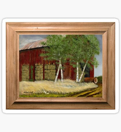 OLD MAN WALKER'S BARN, ACRYLIC PAINTING, DISPLAYED WITH SYNTHETIC FRAME Sticker