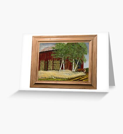 OLD MAN WALKER'S BARN, ACRYLIC PAINTING, DISPLAYED WITH SYNTHETIC FRAME Greeting Card