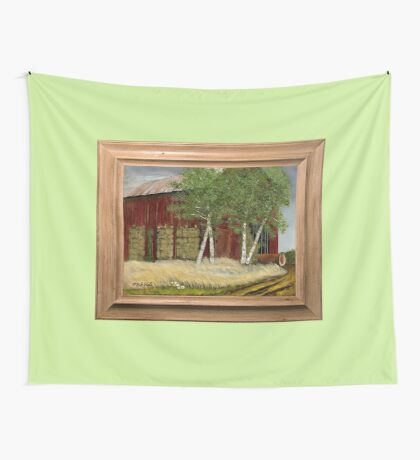 OLD MAN WALKER'S BARN, ACRYLIC PAINTING, DISPLAYED WITH SYNTHETIC FRAME Wall Tapestry