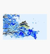 Japanese Temple and Plum Tree Blue  Photographic Print