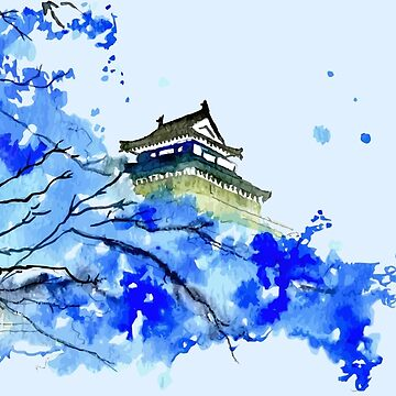 Japanese Temple and Plum Tree Blue  by orinemaster