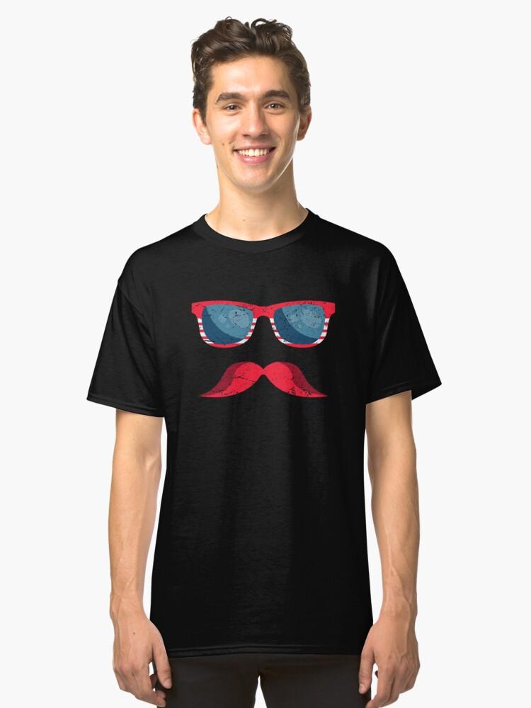 f1074c93d3cd9 American Flag Mustache Sunglasses Merica 4th of July Classic T-Shirt Front