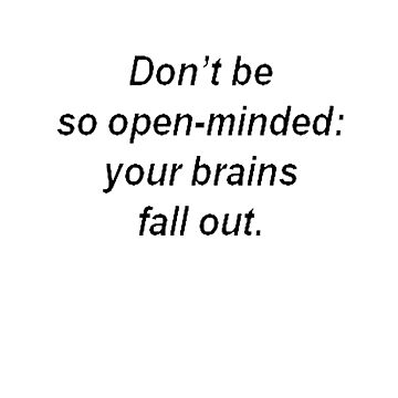 Don't Be So Open Minded - Your Brains Fall Out by taiche