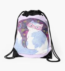 Witch Cat with Glasses Drawstring Bag