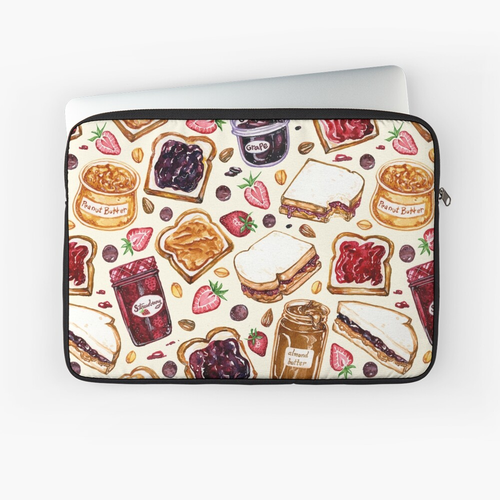 Peanut Butter and Jelly Watercolor Laptop Sleeve