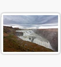 Gullfoss waterfall in a cloudy day Sticker