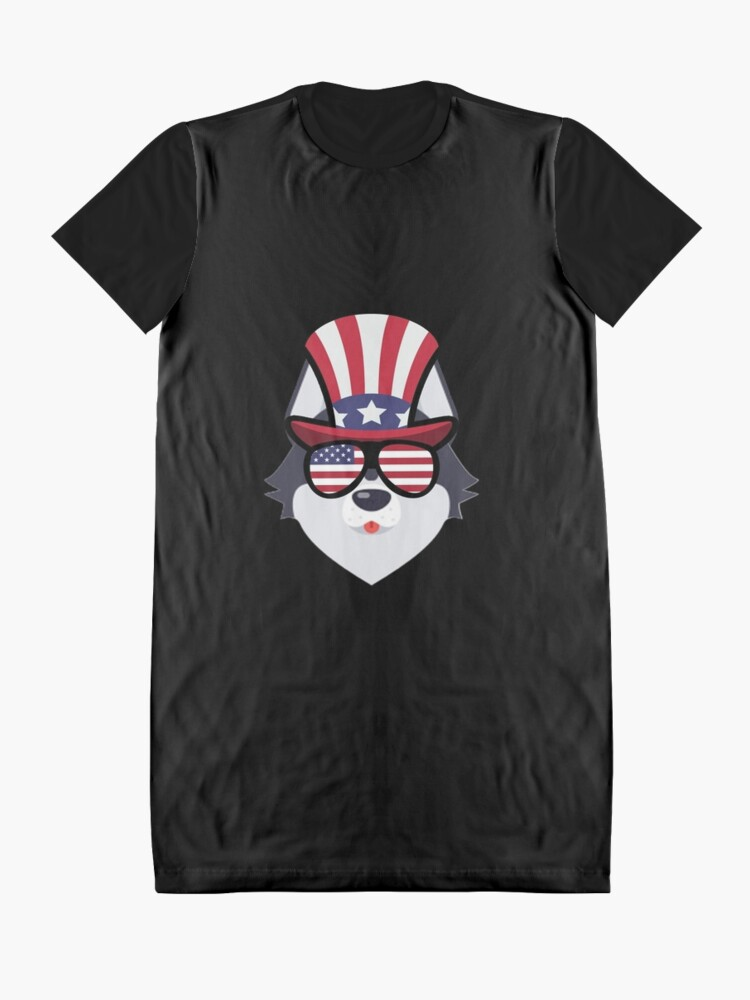 Vista alternativa de Vestido camiseta Husky Happy 4th Of July