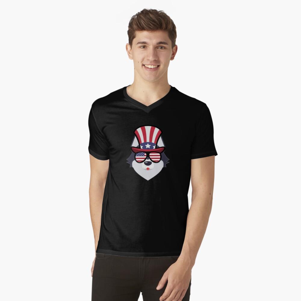 Husky Happy 4th Of July Camiseta de cuello en V