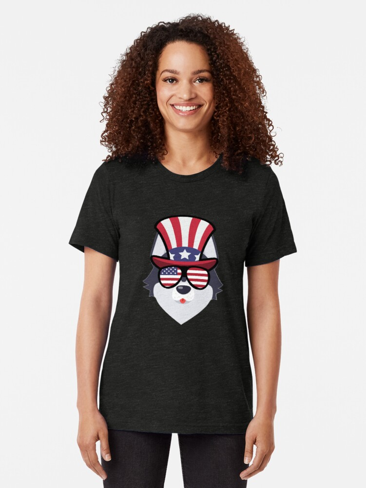 Vista alternativa de Camiseta de tejido mixto Husky Happy 4th Of July