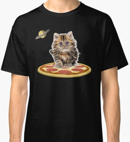 Pizza Cat In Space Shirt Cosmic Astronaut Kitten Planet Classic T-Shirt