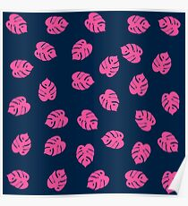 Pink leaves Poster