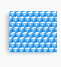abstract 3d pattern made of an array of cubes in blue and white  Canvas Print
