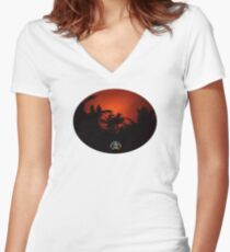 Morning Chat with Apau Hawaii Tours Women's Fitted V-Neck T-Shirt