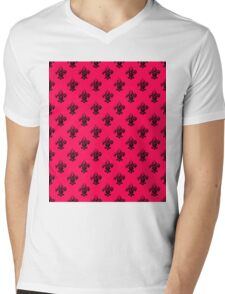 Fleur de lis in punk pink and black. Mens V-Neck T-Shirt