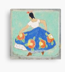 Mexican Dancing Lady Tile Canvas Print
