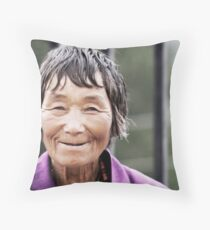 A Smile from Bhutan Throw Pillow