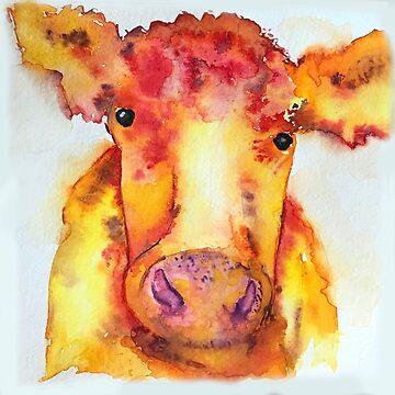Julianne, Watercolor Cow by jstunkard