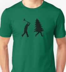 Funny Christmas tree is chased by Lumberjack / Run Forrest, Run! T-Shirt