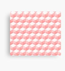 abstract 3d pattern with hexagon structure in pink and white Canvas Print