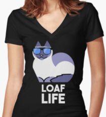 Loaf Life - Birman version Women's Fitted V-Neck T-Shirt